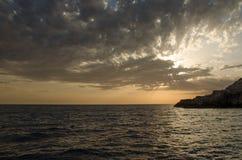 Море захода солнца Черногории Стоковые Фото