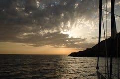 Море захода солнца Черногории Стоковые Изображения RF