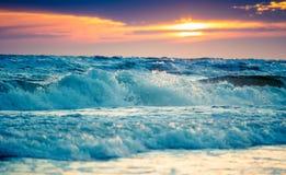 Море захода солнца Стоковые Изображения