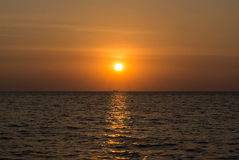 Море захода солнца Стоковое Изображение RF