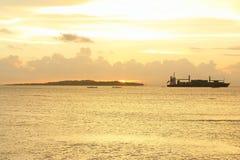 Море захода солнца Стоковое Изображение
