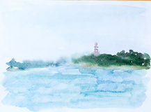 Море и лес, изображение акварели Стоковое Фото