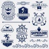 Море и морские логотипы и элементы дизайна иллюстрация штока