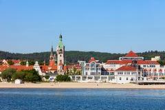 Море и пляж городка Sopot в Польше Стоковая Фотография
