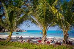 Море и пляж с ладонью кокоса на Lamai приставают к берегу внутри Стоковые Фотографии RF