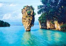 море картины маслом острова малое Стоковая Фотография RF