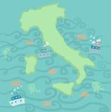 море карты Италии Стоковые Изображения RF