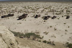 море кладбища шлюпок зоны aral стоковая фотография rf
