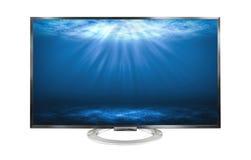 море монитора телевидения 4k глубокое изолированное на белой предпосылке стоковые фото