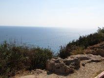 Море над Rosh Hanikra Израилем Стоковые Изображения RF