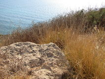 Море над Rosh Hanikra Израилем Стоковая Фотография RF