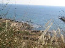 Море над Rosh Hanikra Израилем Стоковая Фотография