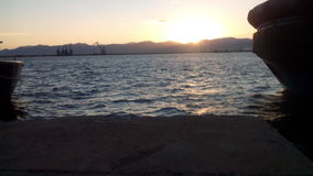 Море на заходе солнца Стоковая Фотография RF