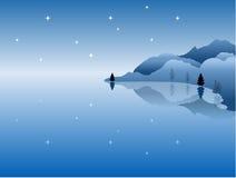 море ночи гор ландшафта Стоковое Изображение