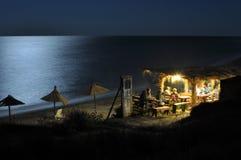 море ночи пляжа черное Стоковая Фотография RF