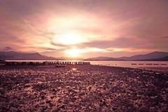 море облицовывает заход солнца Стоковое Изображение RF