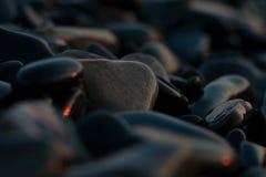 море облицовывает заход солнца Стоковая Фотография