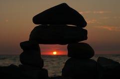 море облицовывает заход солнца Стоковое фото RF