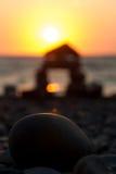 море облицовывает заход солнца Стоковые Фотографии RF