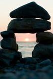 море облицовывает заход солнца Стоковая Фотография RF
