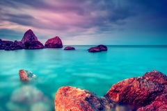 море облицовывает заход солнца Стоковые Фото