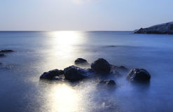 Море облицовывает заход солнца st - остров Эльбы Стоковая Фотография