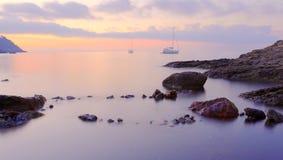 Море облицовывает заход солнца st - остров Эльбы Стоковые Фото