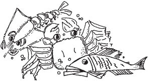 море омара еды рыб рака Стоковое Фото