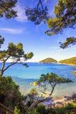Море острова Эльбы, пляж Portoferraio Viticcio побережье и деревья Tu Стоковые Изображения