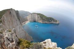 Море пляжа Navagio Ionian Стоковые Изображения RF