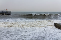 Море пляжа океана аккумулирует большой шторм волны Стоковое фото RF