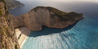 Море пляжа Navagio Ionian Стоковое Изображение RF