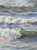 Море развевает акварель Стоковое Изображение RF