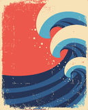 Море развевает плакат. Grunge Стоковая Фотография RF