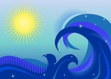 Море развевает с солнцем Стоковая Фотография