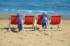 море стулов пляжа Стоковая Фотография RF