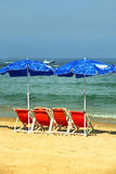 море стулов пляжа Стоковая Фотография