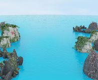 Море трясет горизонт 3D Стоковое Фото