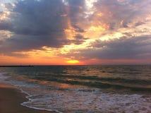 Море, чайки и восход солнца Стоковые Изображения