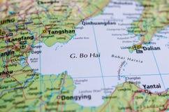Море Bohai на карте Стоковые Изображения
