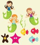 море mermaid графиков вниз Стоковые Изображения