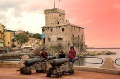 море rapallo замока Стоковые Изображения