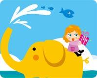 море riding слона детей Стоковые Фотографии RF