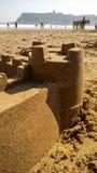 море sandcastle пляжа предпосылки Стоковые Изображения RF