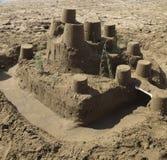 море sandcastle пляжа предпосылки Стоковые Фотографии RF