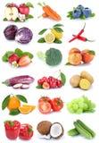 Моркови изолированные собранием яблока фруктов и овощей оранжевые c Стоковые Фотографии RF