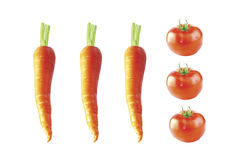 Моркови и томаты Стоковые Фотографии RF