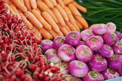 Моркови и турнепсы на рынке фермера в Париже, Франции Стоковое Фото