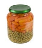 моркови младенца jar горохи стоковое изображение rf
