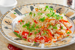 морковь колокола сделала risotto красного цвета перца Стоковое Изображение